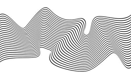 Optical art wave abstract background black and white. 矢量图像