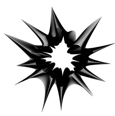 Abstract flower head design, vector black and white.