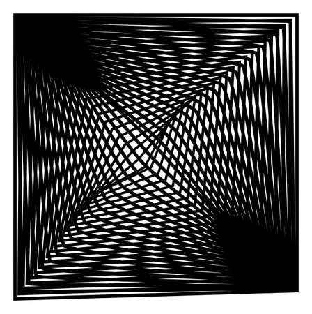 Abstract black white square optical art, op art monochrome shapes