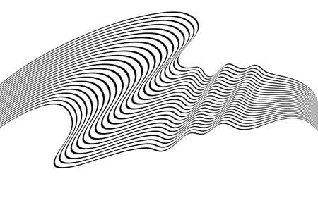 Optical art wave abstract background black and white 矢量图像