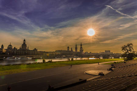 oper: Beautiful evening in Dresden Saxony Germany Stock Photo