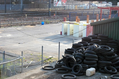 tyres in a scrap yard photo
