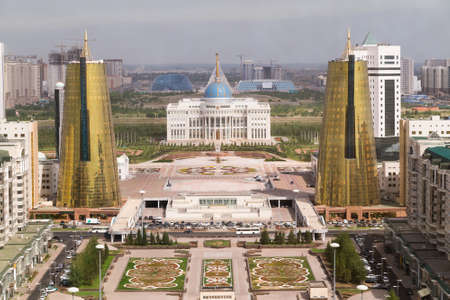 Presidential palace and Twin towers in govermental district, Astana Redakční