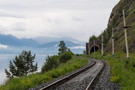 Railroad tracks, Lake Baikal Фото со стока