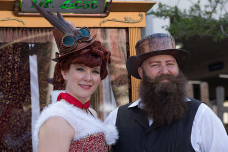 dickens: Galveston, TXUSA - 12 06 2014: Couple dressed in vintage style at Dickens on the Strand Festival in Galveston, TX