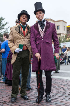 Galveston, TXUSA - 12 06 2014: Pair of men dressed in Victorian style at Dickens on the Strand Festival in Galveston, TX