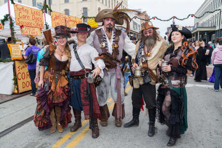 dickens: Galveston, TXUSA - 12 06 2014: Group of people dressed as fantasy pirates at Dickens on the Strand Festival in Galveston, TX