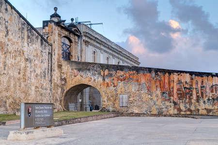 cristobal: Gates of Castillo de San Cristobal at sunset