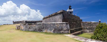 san juan: Panorama of Castillo San Felipe del Morro, San Juan Puerto Rico Stock Photo