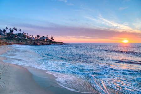 Prachtige zonsondergang in La Jolla, Californië Stockfoto