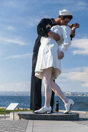 midway: Sculpture Kiss, USS Midway Museum, San Diego, California Editorial