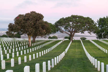 military cemetery: Military cemetery in San Diego with sunset in the background Editorial