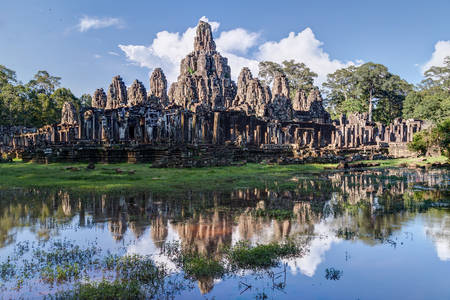 prasat bayon: Prasat Bayon temple in the centre of Angkor Thom city complex Stock Photo