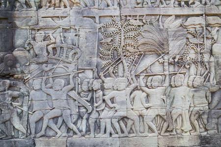 prasat bayon: Bas-reliefs in Prasat Bayon complex