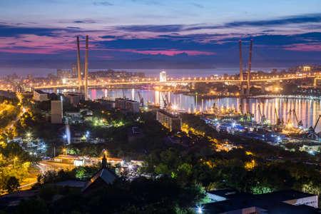 russkiy: Panorama of Vladivostok, Russia at sunset