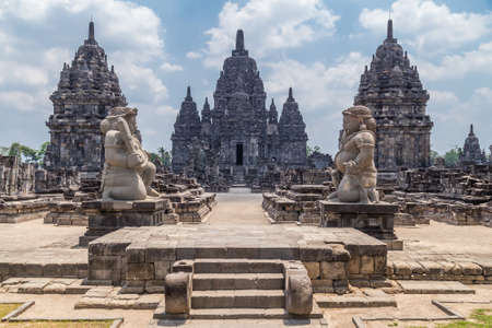 indonesia people: Candi Sewu, part of Prambanan Hindu temple, Indonesia Stock Photo