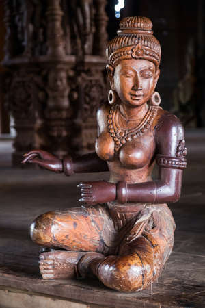 thailand art: Wooden statue of Goddess woman in Sanctuary of Truth, Pattaya