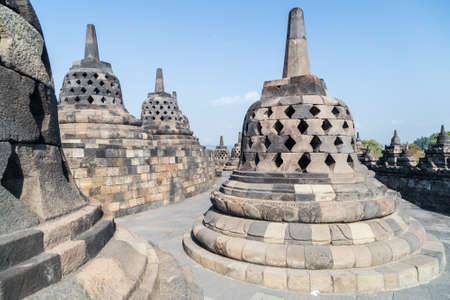 stupas: Buddhist stupas at the top of the Borobudur temple