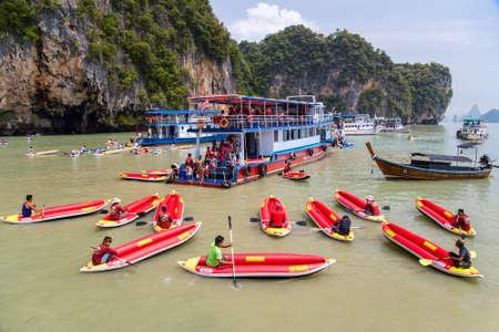 PHANG NGA BAY, THAILAND - CIRCA SEPTEMBER 2015: Tourist kayaking tours in Phang Nga Bay of Andaman sea, Thailand
