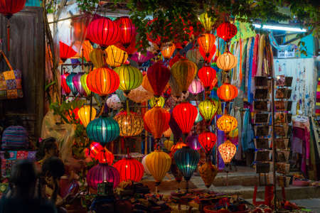 malaysia culture: HOI AN, VIETNAM - CIRCA AUGUST 2015: Paper lanterns on the streets of old Asian town Editorial