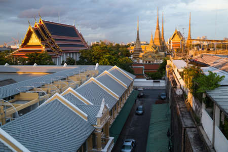 wat pho: BANGKOK, THAILAND - CIRCA AUGUST 2015: Panorama of Wat Pho at sunset, Bangkok, Thailand