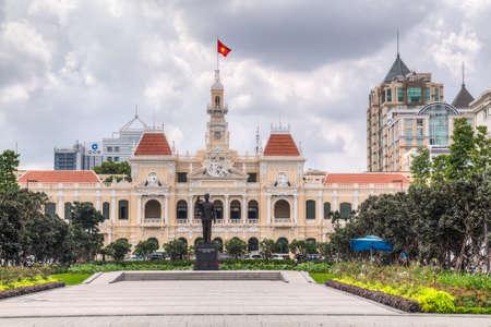 the memorial: HO CHI MINH CITY, SAIGONVIETNAM - CIRCA AUGUST 2015: Ho Chi Minh Memorial and City Hall, Ho Chi Minh City, Vietnam Editorial
