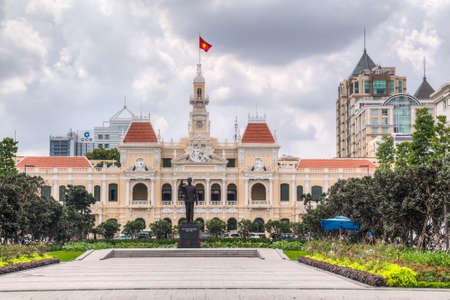 HO CHI MINH CITY, SAIGONVIETNAM - CIRCA AUGUST 2015: Ho Chi Minh Memorial and City Hall, Ho Chi Minh City, Vietnam Editorial