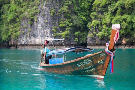 PHI PHI LEE ISLAND, THAILAND - CIRCA SEPTEMBER 2015: Boat sails in the Pileh Lagoon, Phi Phi Lee island, Andaman Sea, Thailand