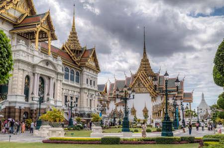 maha: BANGKOK, THAILAND - CIRCA AUGUST 2015: Chakri Maha Prasat Hall and Dusit Maha Prasat Hall, Bangkok, Thailand Editorial