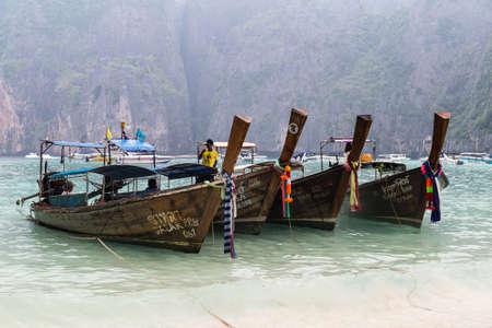PHI PHI LEE ISLAND, THAILAND - CIRCA SEPTEMBER 2015: Boats on Maya beach, Phi Phi Lee island, Andaman Sea, Thailand Editorial