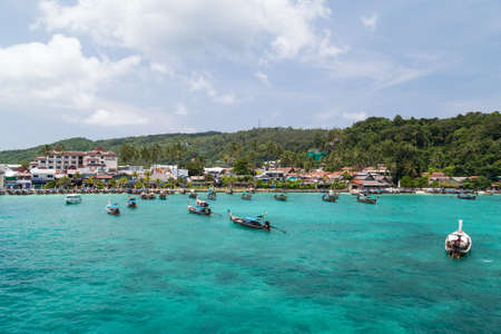 PHI PHI ISLAND, THAILAND - CIRCA SEPTEMBER 2015: Resort hotels, beach and boats at Phi Phi Island, Thailand