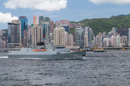 destroyer: Hong Kong, SAR China - circa July 2015: Chinese Navy military cruiser destroyer ship in Hong Kong, Victoria Harbour
