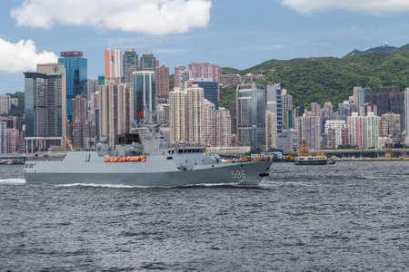 destroyer: Hong Kong, SAR China - circa July 2015: Chinese Navy military cruiser destroyer ship in Hong Kong, Victoria Harbour