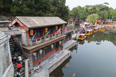 the mainland: Beijing, China - circa September 2015: Historical Town on Suzhou River in Summer Palace, Beijing