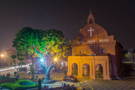 dutch: Malacca, Malaysia - circa September 2015: Christ Church at Dutch Square in Malacca, Malaysia