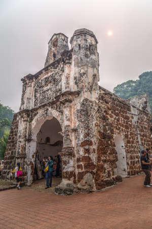 Malacca, Malaysia - circa September 2015: Gate and remnants of A Famosa (Kota A Famosa) Portuguese fortress in Malacca, Malaysia Editorial