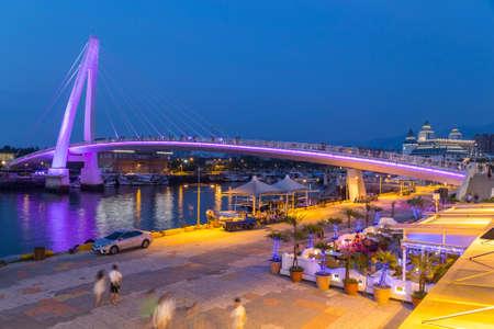 New Taipei City, Taiwan - circa August 2015: Lover Bridge of Tamsui in New Taipei City, Taiwan at sunset Redakční
