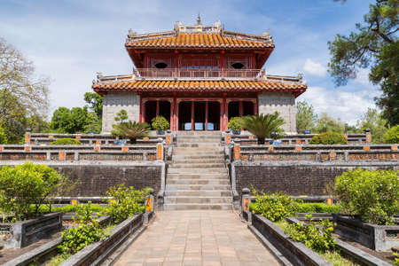 Pavilion in Imperial Minh Mang Tomb in Hue, Vietnam Editorial