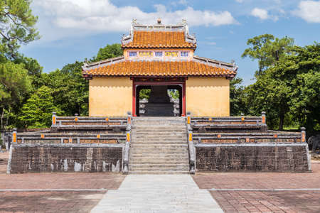 mang: Pavilion in Imperial Minh Mang Tomb in Hue, Vietnam Stock Photo