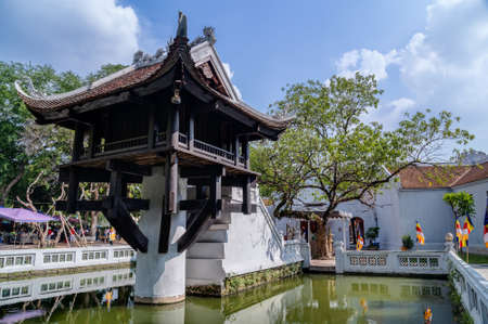 One Pillar Pagoda, reconstructed buddhist temple in Hanoi 版權商用圖片