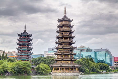 chinese pagoda: Sun and Moon twin double pagodas and Shanhu lake in Guilin