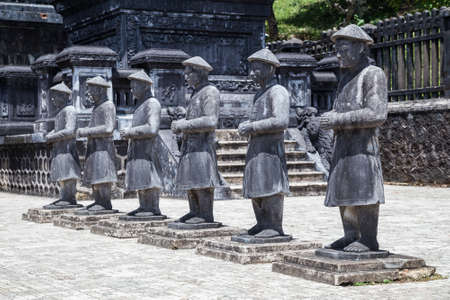 Statues of warriors in Imperial Khai Dinh Tomb in Hue, Vietnam