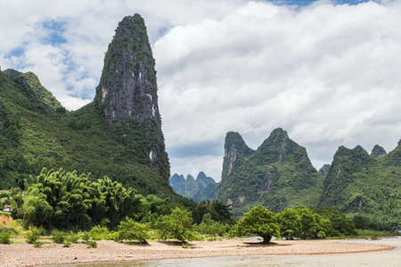 the mainland: Karst mountains and limestone peaks of Li river in China