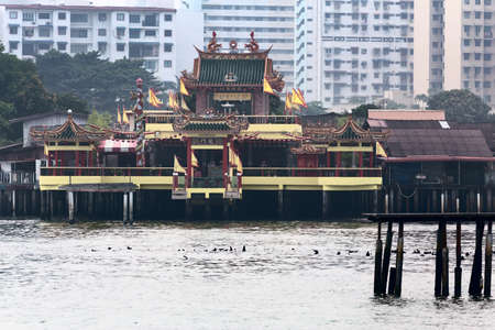 Hean Boo Thean Kuanyin Chinese Buddhist temple in Clan Jetties, Georgetown, Malaysia, Penang. Translation: Hean Boo Thean Kuanyin Chinese Buddhist temple Stock Photo