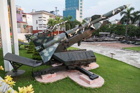 missiles: Hanoi, Vietnam - circa September 2015: Anti-air missiles in B-52 Victory Museum in Hanoi, Vietnam