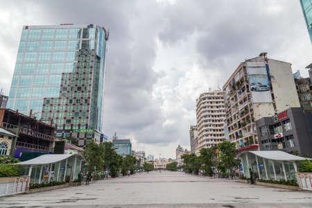 hue: Ho Chi Minh, Vietnam - circa September 2015: Nguyen Hue Avenue in Ho Chi Minh City, Vietnam