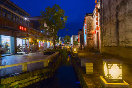 the mainland: Huangshan Tunxi City, China - circa September 2015: Streets of Old Town Huangshan by night Editorial