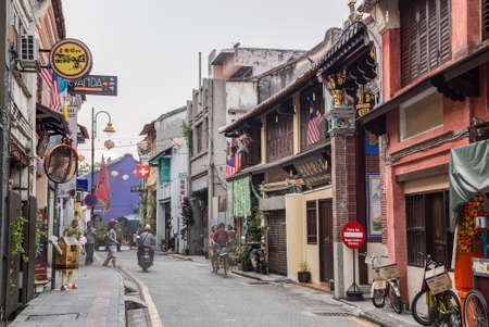 georgetown: Georgetown, PenangMalaysia - circa October 2015: Old streets and architecture of Georgetown, Penang, Malaysia