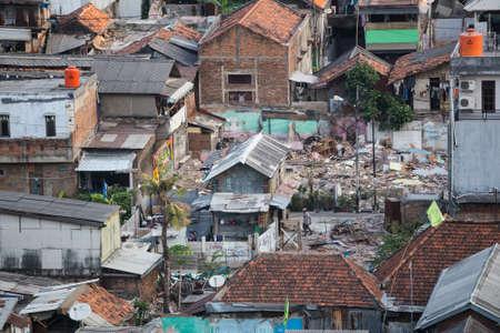slums: Jakarta, Indonesia - circa October 2015: Slums of Jakarta, capital of Indonesia Editorial