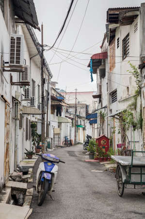 Georgetown, PenangMalaysia - circa October 2015: Old streets and architecture of Georgetown, Penang, Malaysia